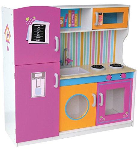 Grande y Brillante Multi Cocina Madera Infantil Cocina de Juguete Accesorios Para Niñas Cocinita Microonda Color Rosa