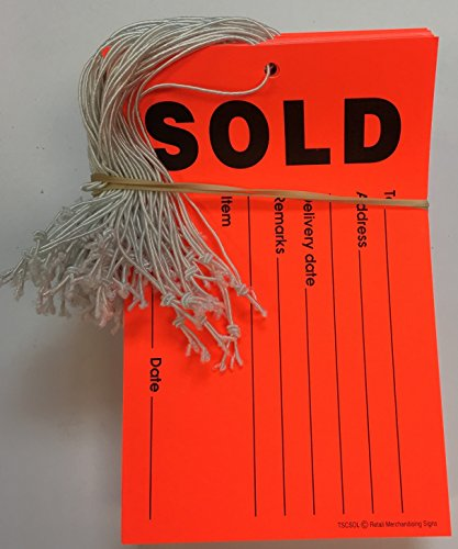 "TSCSOL Fluorescent ""Elastic String"" Sold Tags 3 1/2"" x 5 1/2"" (100 pack)"