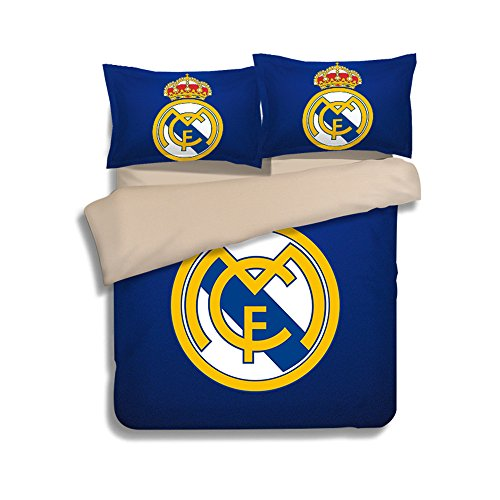 Jameswish Real Madrid Football Duvet Cover Set 3D Printed Bedding Linens Polyester Heavy-Duty Kids Favourite Bed Cover 3-Piece Including 1Duvet Cover 2Pillowshams King Queen Full Twin (Madrid Queen)
