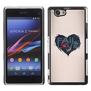 rígido protector delgado Shell Prima Delgada Casa Carcasa Funda Case Bandera Cover Armor para Sony Xperia Z1 Compact D5503 /Quote Love Heartbreak Beige/ STRONG