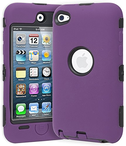 Hybrid Case compatible with Apple iPod touch 4th Generation, Black Hard / Purple Skin (Purple And Ipod Black Cases 4)