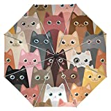 Wamika Cute Kitty Cats Umbrella Automatic Open Close Windproof Compact Anti-UV Travel Umbrella Animals Lightweight Parasol Umbrellas Sun & Rain
