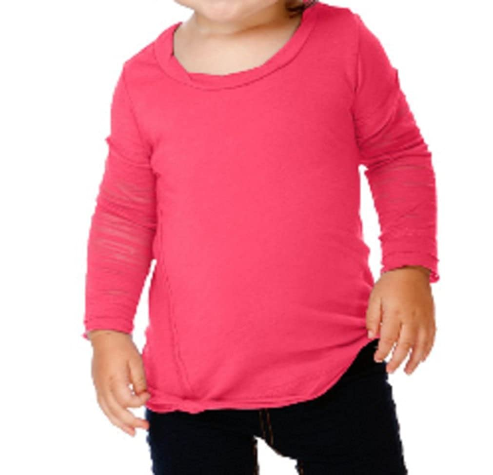 Kavio Little Girls Long Sleeve Fine Jersey T Shirt with Burnout Sleeves Sizes 7 to 16