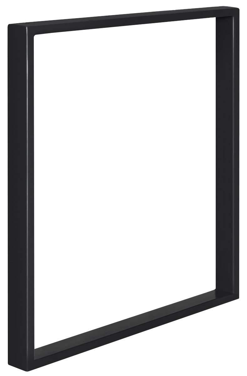 HOLZBRINK Patas de Mesa perfiles de acero 60x20 mm HLT-01-E-FF-9005 1 Pieza forma de marco 80x72 cm Negro Intenso