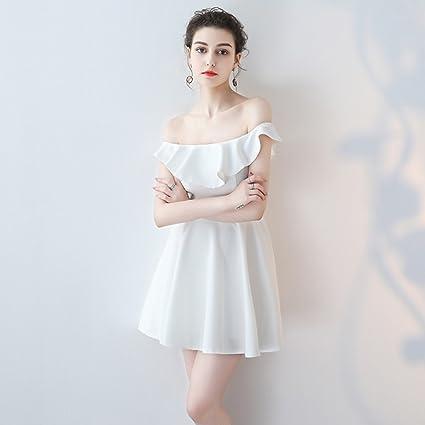 Vestido de noche Blanco Dobladillo De Falda En Forma De A Mujer Verano Banquete Sección Corta