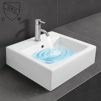 WinZo WZ6087 Square Bathroom Vanity Sink,White Porcelain Ceramic Vessel Art Basin - ◇Sleek European inspired modern contemporary design with overflow in high quality smooth ceramic ensures your durable & scratch-resistant lifetime use. ◇Nano-self-cleaning glaze, Above the counter installation and maintaining clean, gently wipe to restore light. ◇1280 ° high temperature firing, porcelain high density, low water absorption, no easy to scratch, durable use. - bathroom-vanities, bathroom-fixtures-hardware, bathroom - 51n8gfoSlzL. SS400  -
