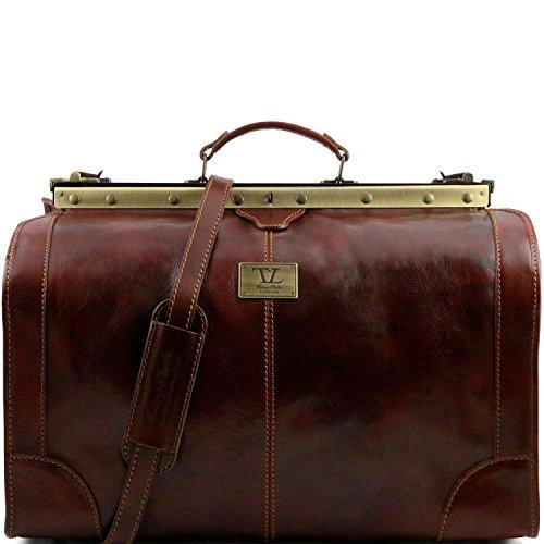 Tuscany Leather - Madrid - Maulbügelreisetasche aus Leder - Gross Dunkelbraun - TL1022/5 Braun