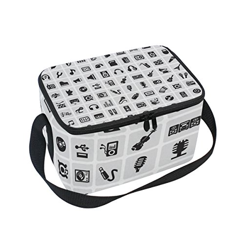 LORVIES Music Icons Insulated Lunch Box Bag Cooler Reusable Tote Bag with Adjustable Shoulder Strap for Women Men