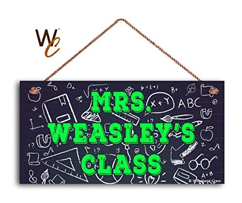 Funlaugh Back to School Sign Teacher Sign Personalized Sign Classroom Hanging Sign School Icons Gift for Teacher 5 x 10 Hand Painted Wood Signs with Quotes Home Wall - Personalized Plaques Painted Hand Wall