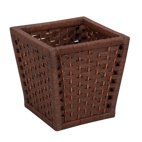 Household Essentials ML-7031 Paper Rope Wicker Waste Basket | For Bedrooms & Bathrooms | Dark Brown Stain (Dark Wicker Basket)