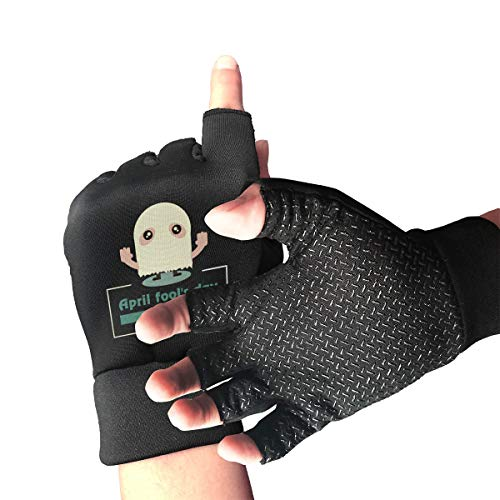 (HU MOVR April Fool's Day Cute Fingers Motorcycle Gloves Shockproof 1/2 Outdoor Sports Exercise Short Glove for Men Women)