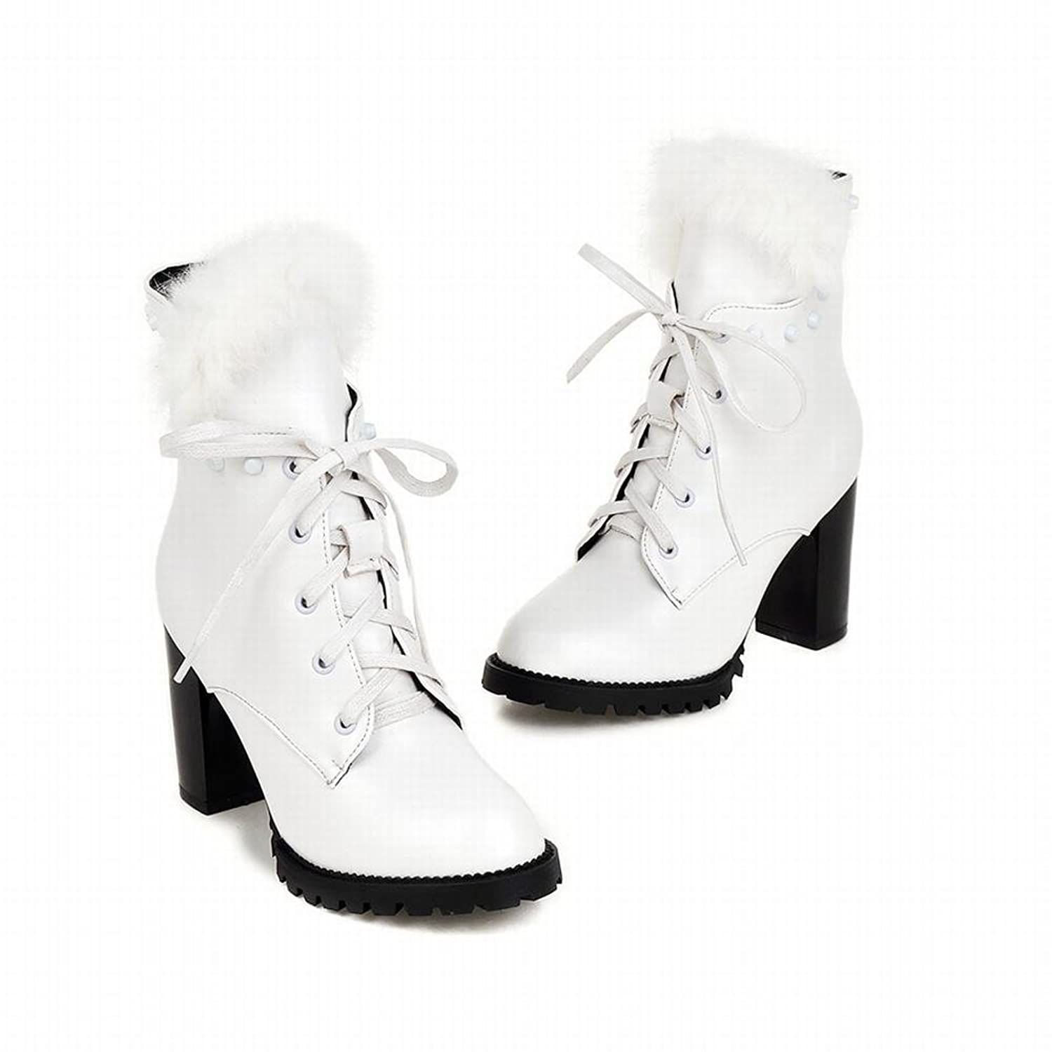Vintage Style Boots Retro Vintage Winter Snow Lace up Studded Cony Hair Rivet High Heel Short Boots  AT vintagedancer.com