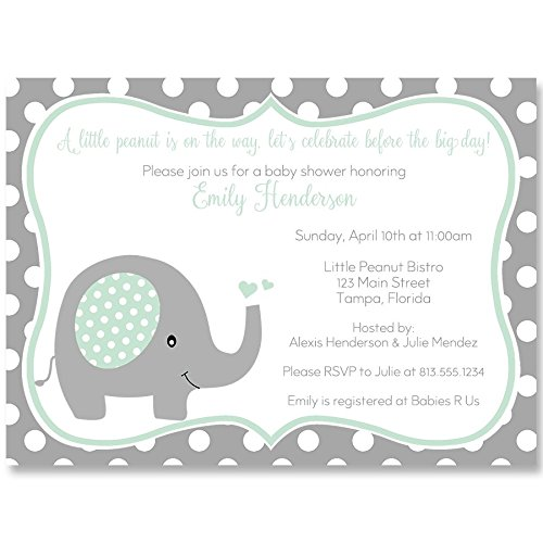 Elephant, Baby Shower Invitations, Mint, Gray, Polka Dots, Sprinkle, Gender Neutral, Baby Shower, Elephant Baby Shower, Baby Shower, Pack of 10 Custom Printed Invites with Envelopes ()