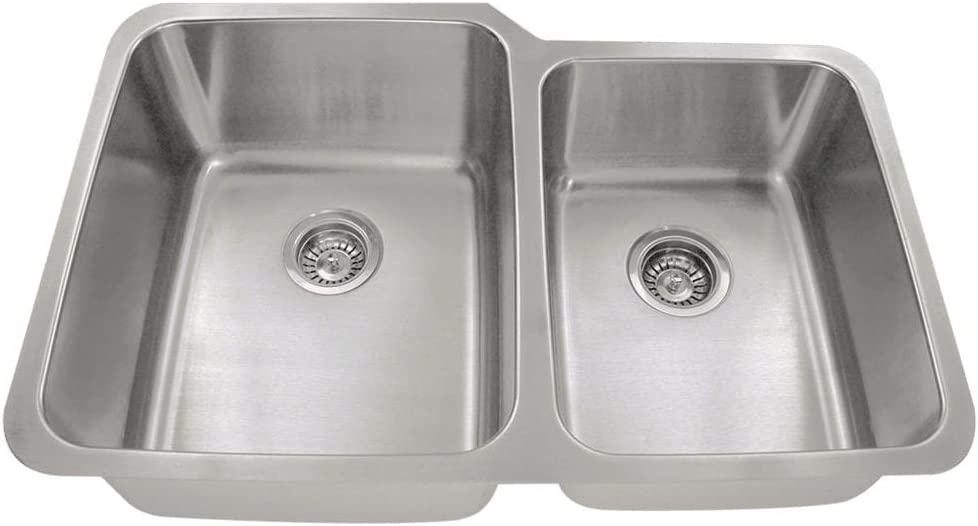 513L 16-Gauge Undermount Offset Double Bowl Stainless Steel Kitchen Sink