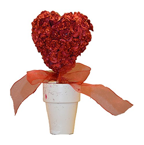 Fantastic Craft Glittery Rose Heart Topiary, 10-Inch, Red
