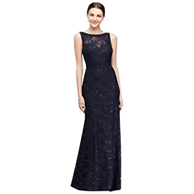 98da87be11504 High-Neck Lace Mermaid Mother of Bride Groom Dress with Tonal Seaming Style  21442 at Amazon Women s Clothing store