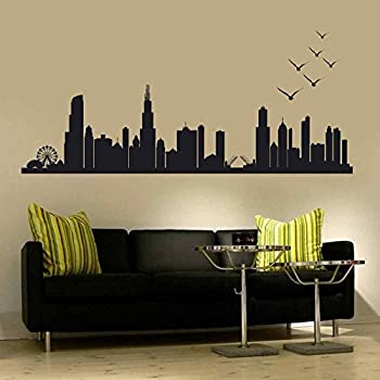 BATTOO Chicago Skyline Wall Decal Art Vinyl Stick n peel Decal up to 100  Living Room Office Decor City Decals Many Colors and Sizes (10  h x 28wBlack) & Amazon.com: Vinyl Chicago Wall Decal Chicago City Wall Decor Chicago ...