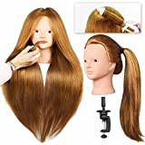 "Bleaching Hair Experience - SILKY 28"" Mannequin Head for Make Up Practice with 40% Real Human Hair Blonde #27 Doll Head for hair styling Cosmetology Long Hair FREE Table Clamp Stand (#27 No make-up)"