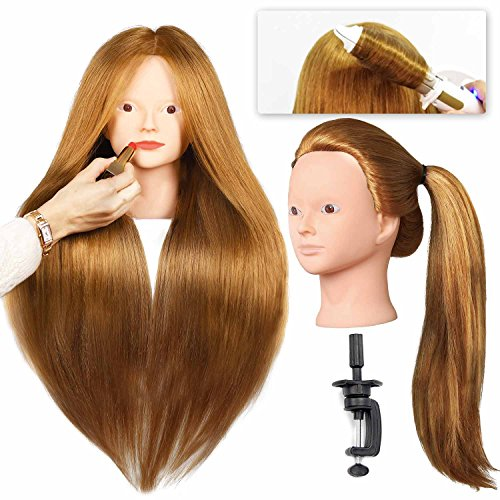 """SILKY 28"""" Mannequin Head for Make Up Practice with 40% Real Human Hair Blonde #27 Doll Head for hair styling Cosmetology Long Hair FREE Table Clamp Stand (#27 No make-up)"""