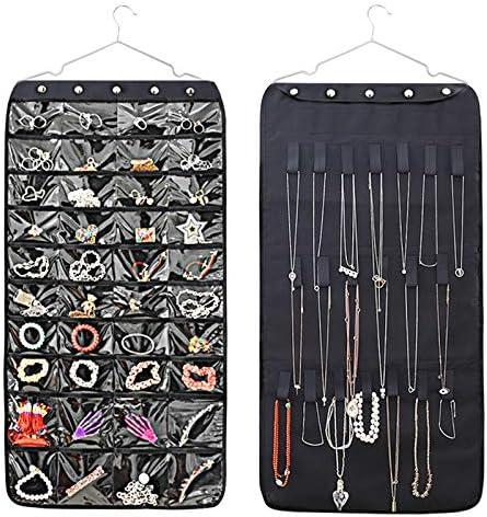 Viesap Sieradenhouder hangende sieradenorganizer dubbelzijdig opbergvak met 40 transparante vakken organizer voor sieraden opbergtas boven de deur zwart