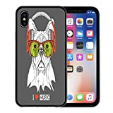 Emvency Phone Case for Apple iPhone Xs Case/iPhone X Case,Cap Animal Dog in Glasses and Headphones Beast Chief Soft Rubber Border Decorative, Black