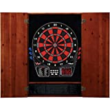 Viper Metropolitan Solid Wood Cabinet & Electronic Dartboard Ready-to-Play Bundle: Deluxe Set (797 Dartboard and Darts), Cinnamon Finish