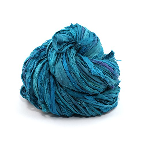 Darn Good Yarn Sari Silk Ribbon Yarn, Beautiful Handmade Recycled Vintage Sari Ribbon, 50 Yards, Teals Galore, 100 Grams, 1 Skein