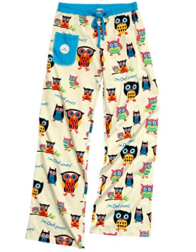 Lazy One WPP160/WTS160 Women's Owl Yours Blue and Red Cotton Pajama Pyjama Set