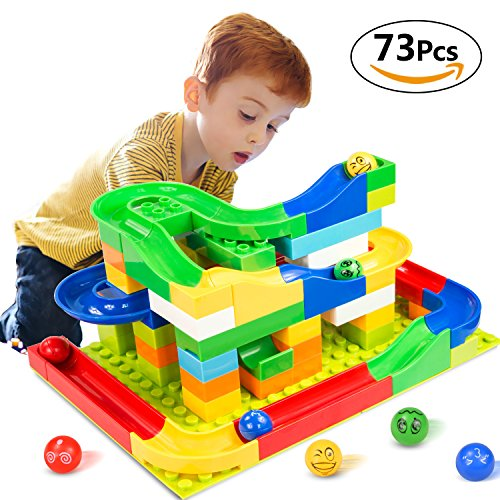Elover Marble Run Toy, Building Blocks Construction Toys Set Puzzle Race Track for Kids (73 Pieces) (73 Pieces)