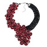 Infinite Blossoms Black-Red Crystals Fashion Beads on Base Metal Jewerly Wire Statement Necklace