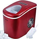 Eight24hours Portable Countertop Ice Cube Maker Compact Tabletop Touch Control 26 lb/day, Red + FREE E-Book