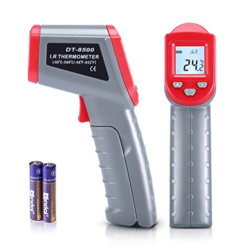 Digital Infrared Thermometer, Non-Contact IR Laser Temperature Gun -58°F to 932°F (-50°C to 500°C) with Backlit LCD Display Instant Reading for Cooking BBQ Automotive Industrial (Batteries Included)