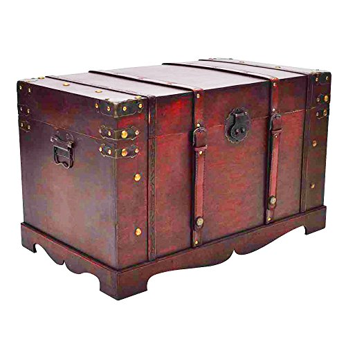 vidaXL Large Wooden Treasure Storage Thunk Blanket Steamer Chest Vintage Antique Style by vidaXL