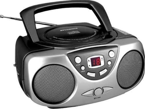 Sylvania SRCD243 Portable CD Player with AM/FM Radio, Boombox (Black)