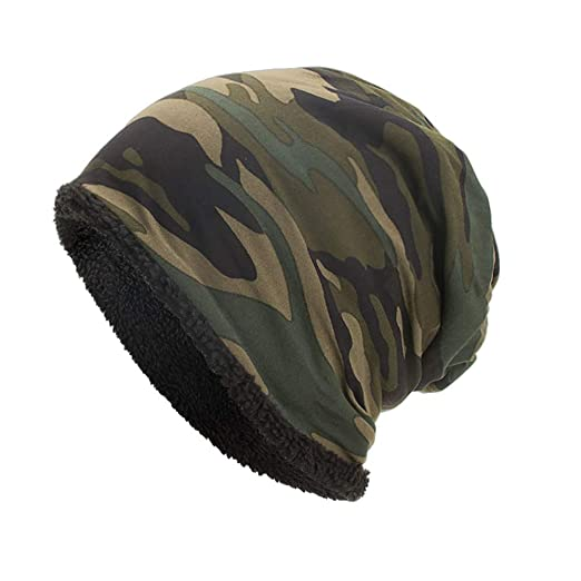 iYBUIA Women Men Warm Baggy Camouflage Crochet Winter Wool Ski Beanie Skull  Caps Hat(Army a11dfff30cce
