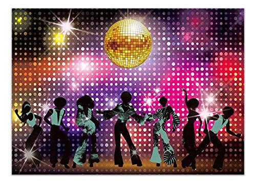 Allenjoy 7x5ft Vintage 70s 80s 90s Disco Dancers Backdrop for Party Let's Glow Crazy Shining Neon Night Birthday Photography Background Cake Table Banner Photobooth ()