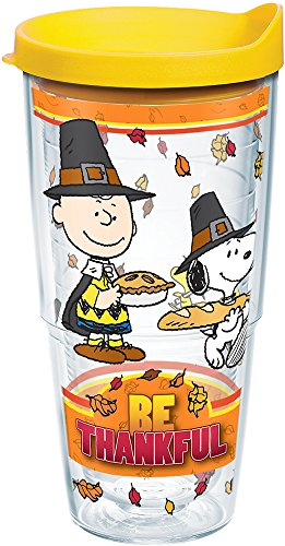 Tervis 1239693 Peanuts-Be Thankful Insulated Tumbler with Wrap, 24 oz, Clear