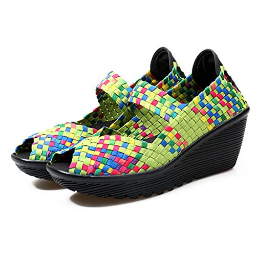 Wedge On Toe Sandali Peep Women Slip Woven Shoes Platform Verde Walking Weave Jiyaru 6wOqXUn