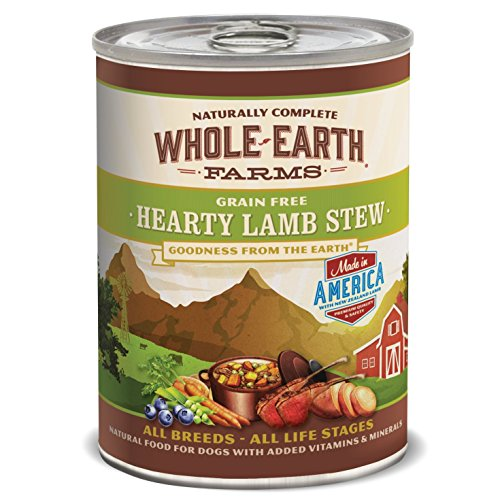 Whole Earth Farms Grain Free Hearty Lamb Stew Canned Dog Food, 12.7 oz., Case of 12