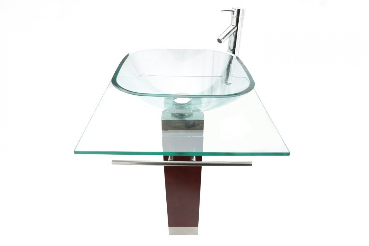 "Glass Pedestal Sink with Chrome Faucet Drain and Towel Bar Included Modern Bohemia Design 33"" H x 23-5/8"" W x 19-3/4"" Proj. Renovator's Supply"