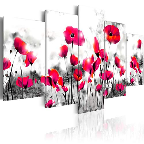 Red Poppy Artwork Chinese Flower Painting Canvas Modern Abstract Floral Print Wall Art Decor for Home - Painting Chinese Abstract