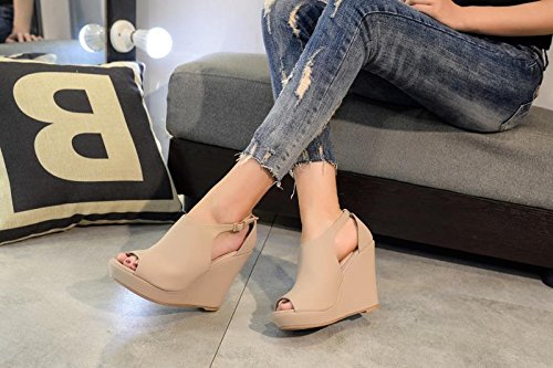 Womens Nude Toe Cutout Wedges Lady Platform Bootie Ankle Straps Mila Peep Lisa 2 Side S4vOxwqt