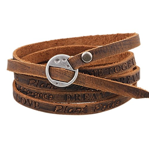MORE FUN Multilayer Design Dark Brown Leather Cuff Bangle Thin Leather Rope Wristband Bracelet (Silver) (Buckle Wrap Around)