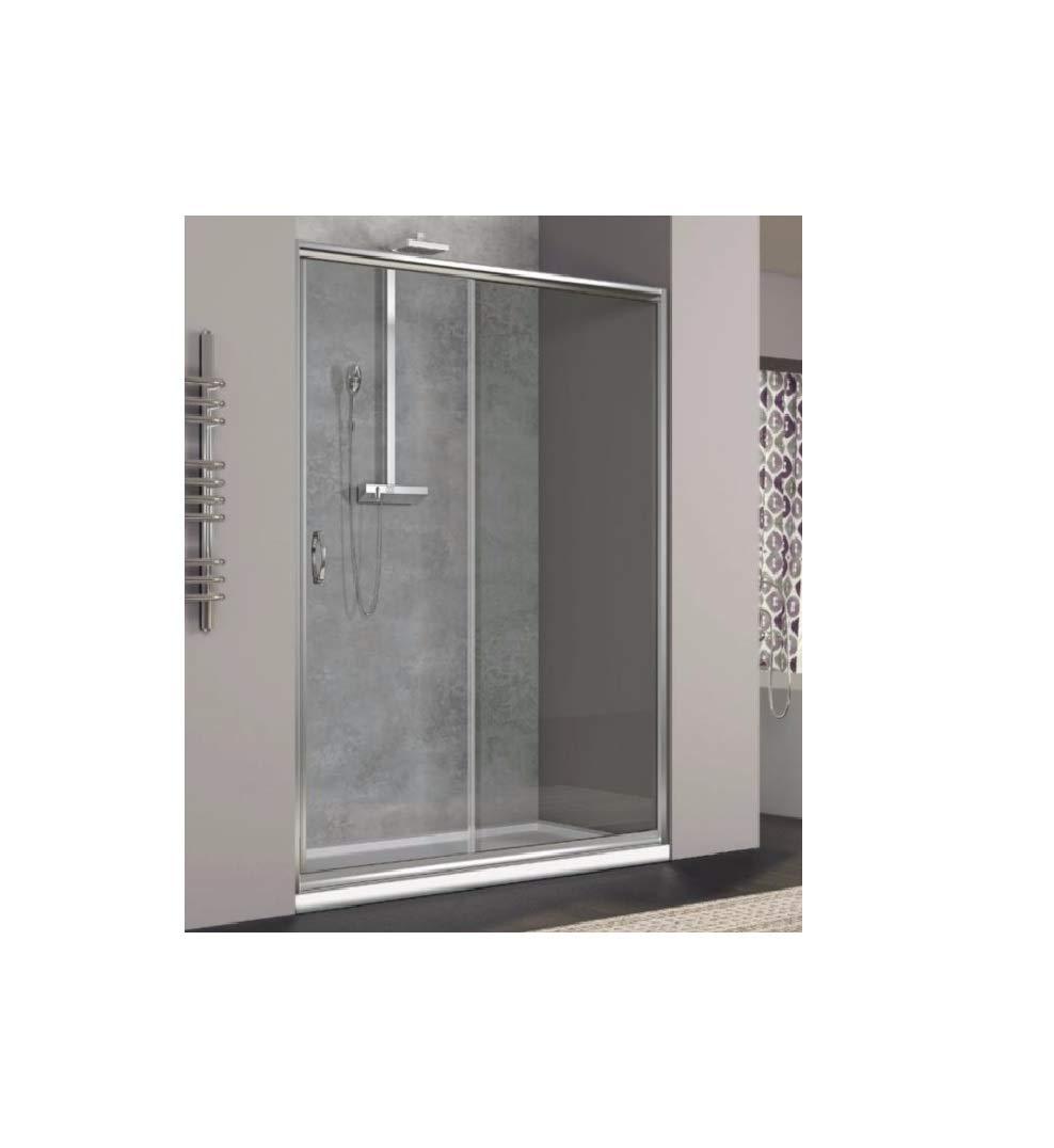 Duschwand, aus gehärtetem Glas Transparent 6mm für einen Seite des Ortes seitliche Türen Schiebetüren–Reversible Rechts/Links Breite 140cm, Höhe 185cm
