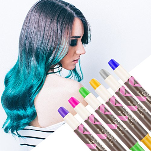 Hair Chalk Pens, Amariver 6 Pack Colorful Metallic Glitter Temporary Hair Chalk Pens Edge Chalkers for Girls, Christmas, Cosplay, Party, Works on All Hair Colors by Amariver (Image #4)