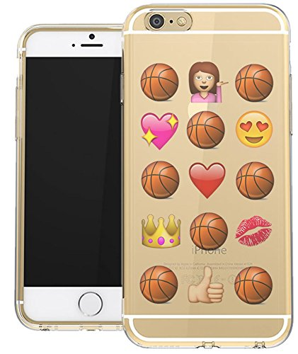 Amazon Com Iphone 6 Plus Clear Case Basketball Novelty Emoji Funny