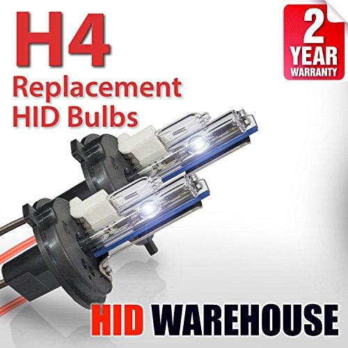 HID-Warehouse AC HID Xenon Replacement Bulbs - H4/9003 6000K - Light Blue (1 Pair) - 2 Year Warranty (Blue Hid Bulbs Light Bulb)