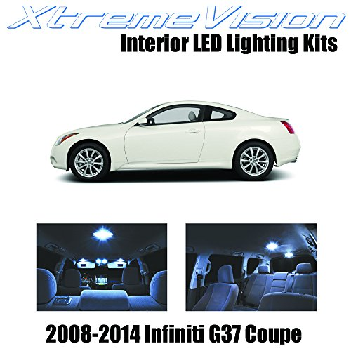 XtremeVision Infiniti G37 Coupe 2008-2014 (9 Pieces) Cool White Premium Interior LED Kit Package +Installation Tool