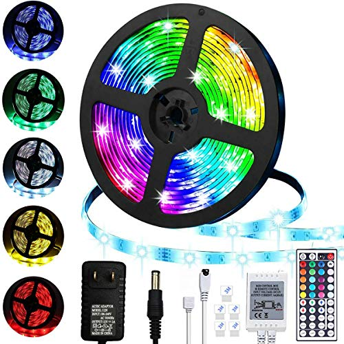 LiyuanQ LED Strip Lights, 16.4ft/5m RGB Color Changing Lighting Strip Tape Lights 150 LED 5050 Strip Rope Light with 44 Keys Remote Control Dimmable Mood Lighting for Home TV Kitchen DIY Decoration