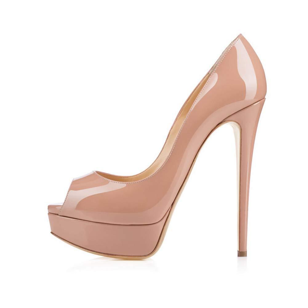 Ai Ya-liangxie Sexy Super Dünne High Heel 3,5Cm Plattform Unten Schuhe Peep Toe Frauen Echtes Lackleder Pumps Nachtclub Schuhe  | Tadellos  | Mittlere Kosten